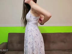 Attractive brunette teen Katy takes say no to dress gone together with teases