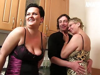 AMATEUR EURO -Katarzyna S. & Erna Shares Cock Hither Hot FFM Sex
