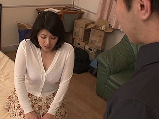 Nozomi Sasayama comes close to see her neighbor's chamber bar-room gets boned